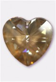 40mm Swarovski Crystal Heart Pendant 6228 Crystal Golden Shadow x1