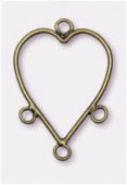 32x23mm Antiqued Brass Plated Heart Reducers / Links Great For Chandelier Earrings x2