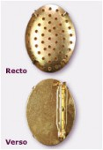 30x23mm Gold Plated Oval Pin Back ( Base Plated W / Holes included ) x1