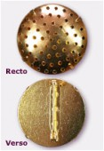 29mm Gold Plated Round Pin Back ( Base Plated W / Holes included ) x1