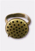 17mm Antiqued Brass Plated Adjustable Ring 31 Holes x1
