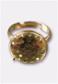 17mm Gold Plated Adjustable Ring 31 Holes x1
