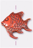 40x37mm Crafted Beads Color Cinnabar Fish Bead x1