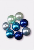10mm Czech Smooth Round Pearls Blue Mix x8