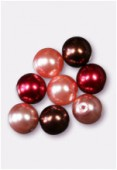 10mm Czech Smooth Round Pearls Red Mix x8