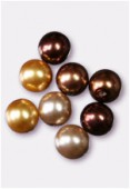 10mm Czech Smooth Round Pearls Brown Mix x8