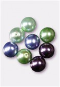 10mm Czech Smooth Round Pearls Green Mix x8