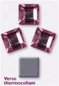 4mm Swarovski Crystal Square Flatback Hotfix 2400 Pink Light  M HF x12