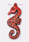 30x12mm Color Cinnabar Seahorse Necklace Pendant x1