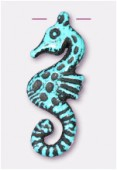 30x12mm Crafted Beads Color Turquoise Seahorse Necklace Pendant x1