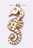 30x12mm Crafted Beads Color Bone Seahorse Necklace Pendant x1