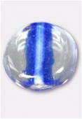 Glass Coin Beads Blue x4