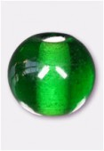 Glass Round Beads Emerald x8