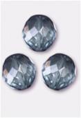 14mm Czech Round Fire Polish Glass Beads Lumi Blue x2