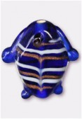 Glass Fish Beads Dark Blue x2