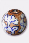 Enamelled Clay Round Beads Brown x1