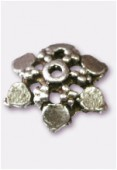 12mm Antiqued Silver Plated Bead Caps x4