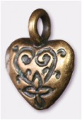 12x15mm Antiqued Brass Plated Heart Charms Pendant x2