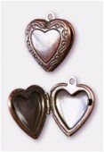20x23mm Antiqued Copper Plated Picture Frame Heart Pendant Charms x1