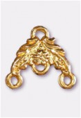 """14x14mm Gold Plated """"Flower-Chandelier'' W / 3 Loop For Hanging Components x2"""