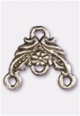 """14x14mm Antiqued Silver Plated """"Flower-Chandelier'' W / 3 Loop For Hanging Components x2"""