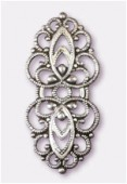 33x15mm Antiqued Silver Plated Filigree Oval Connector Link x1