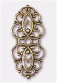33x15mm Antiqued Copper Plated Filigree Oval Connector Link x1
