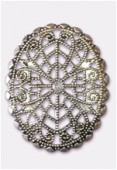 45x35mm Antiqued Silver Plated Filigree Oval Connector Link x1
