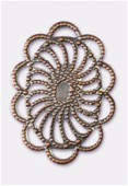 26x18mm Antiqued Copper Plated Filigree Oval Connector Link x1