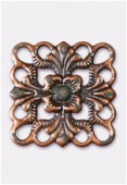 15x15mm Antiqued copper Plated Filigree Square Connector Link x1