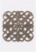 35x35mm Antiqued Brass Plated Filigree Square Connector Link x1