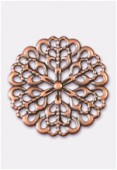 20mm Antiqued copper Plated Filigree Round Connector Link x1