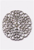 25mm Antiqued Silver Plated Filigree Round Connector Link x1