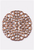 25mm Antiqued Copper Plated Filigree Round Connector Link x1