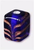 Glass Cube Beads Dark Blue x4