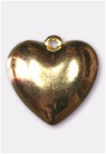 22mm Gold Color Metallized Heart Plastic Bead x1