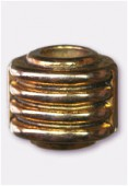 17x15mm Gold Color Metallized Twist Barrel Plastic Bead x1