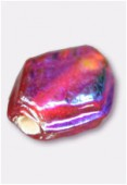 Glass Coin Beads Iridescent Red x12