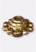 10x6mm Gold Plated Flower Spacer Beads x4