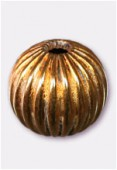 10mm Gold Plated Corrugated Round Beads  x4