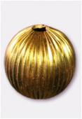 30mm Gold Plated Round Corrugated Round Beads x1