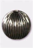 30mm Antiqued Silver Plated Corrugated Round Beads x1