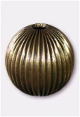 30mm Antiqued Brass Plated Corrugated Round Beads x1