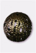 12mm Antiqued Brass Plated Filigree Round Beads x4