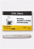 John James English Beading Needles 55mm Size 12  x25