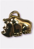 54x40mm Gold Color Metallized Rhinoceros Plastic Bead Pendant x1