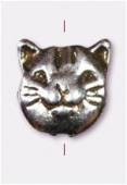 10x8mm Antiqued Silver Plated Cat Head Beads x2