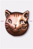 10x8mm Antiqued Copper Plated Cat Head Beads x2