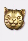 10x8mm Antiqued Brass Plated Cat Head Beads x2