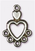 """18x12mm Antiqued Silver Plated """"Heart-Chandelier'' W / 5 Loop For Hanging Components x2"""